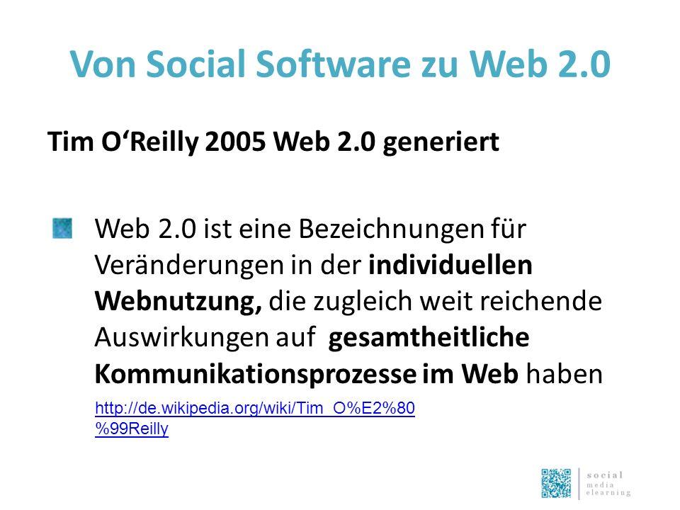 Von Social Software zu Web 2.0 Tim O'Reilly 2005 Web 2.0 generiert Web 2.0 ist eine Bezeichnungen für Veränderungen in der individuellen Webnutzung, die zugleich weit reichende Auswirkungen auf gesamtheitliche Kommunikationsprozesse im Web haben http://de.wikipedia.org/wiki/Tim_O%E2%80 %99Reilly