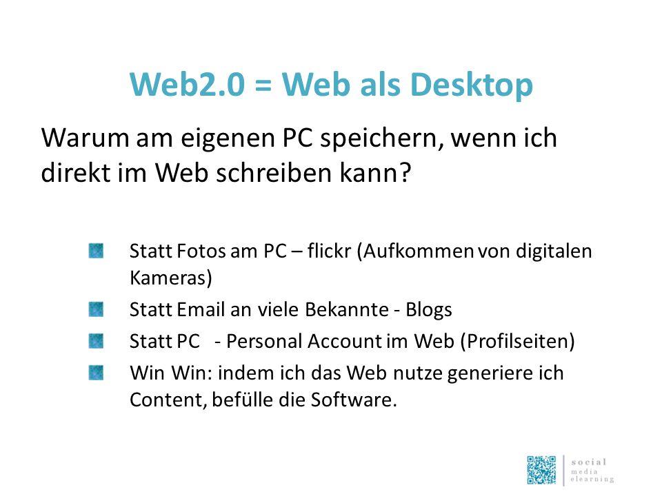 Web2.0 = Web als Desktop Warum am eigenen PC speichern, wenn ich direkt im Web schreiben kann.