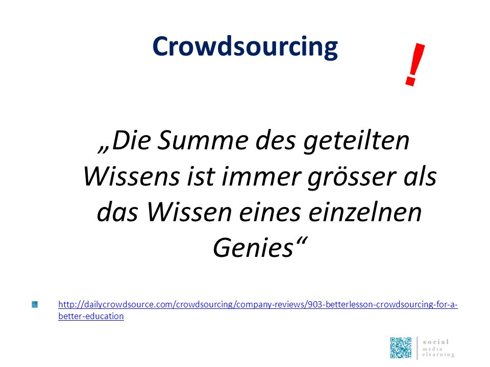 "Crowdsourcing ""Die Summe des geteilten Wissens ist immer grösser als das Wissen eines einzelnen Genies http://dailycrowdsource.com/crowdsourcing/company-reviews/903-betterlesson-crowdsourcing-for-a- better-education !"