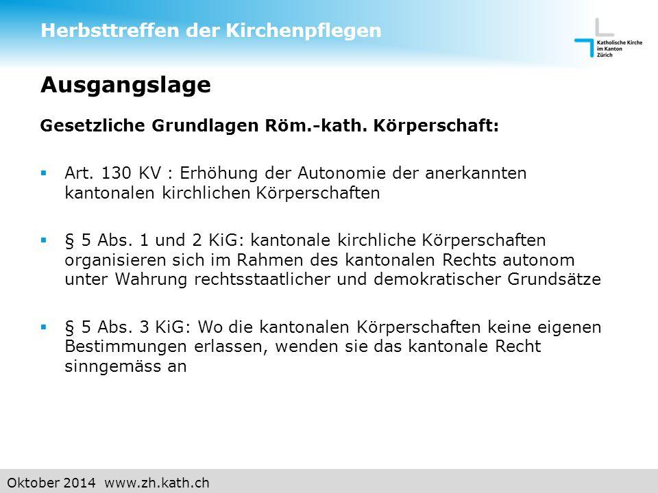 Oktober 2014 www.zh.kath.ch Gesetzliche Grundlage Kirchgemeinde  Art.