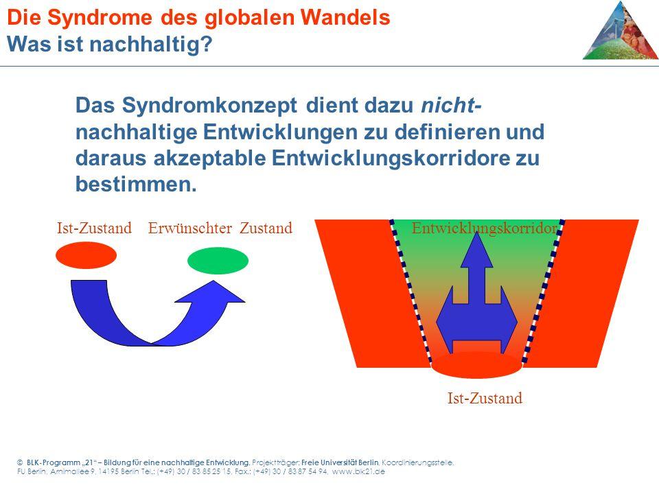 Das Syndromkonzept dient dazu nicht- nachhaltige Entwicklungen zu definieren und daraus akzeptable Entwicklungskorridore zu bestimmen. Erwünschter Zus