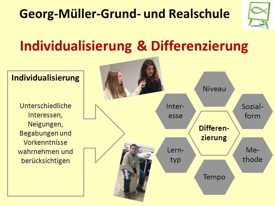 Georg-Müller-Grund- und Realschule Individualisierung & Differenzierung Differen- zierung Niveau Sozial- form Me- thode Tempo Lern- typ Inter- esse Individualisierung Unterschiedliche Interessen, Neigungen, Begabungen und Vorkenntnisse wahrnehmen und berücksichtigen
