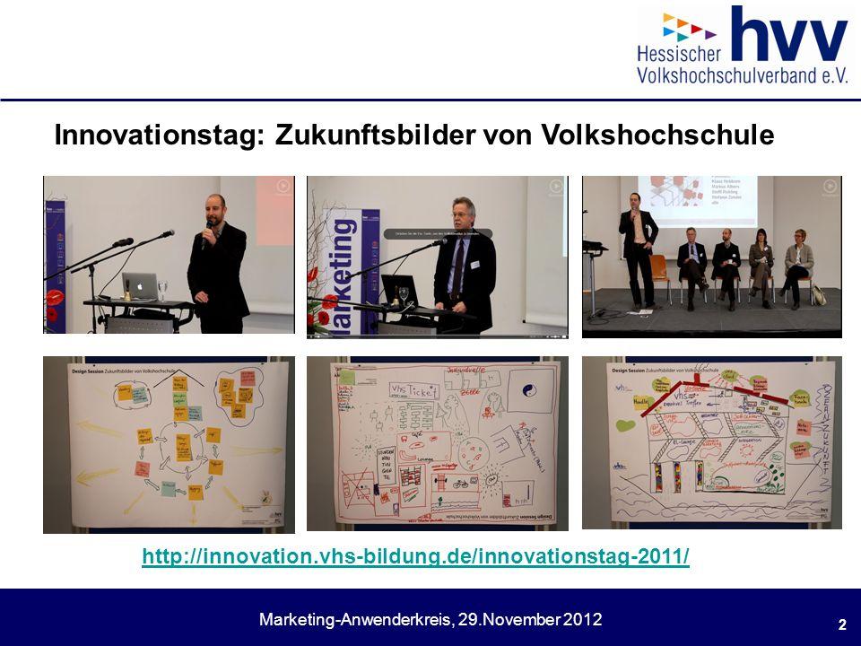 Marketing-Anwenderkreis, 29.November 2012 2 Innovationstag: Zukunftsbilder von Volkshochschule http://innovation.vhs-bildung.de/innovationstag-2011/