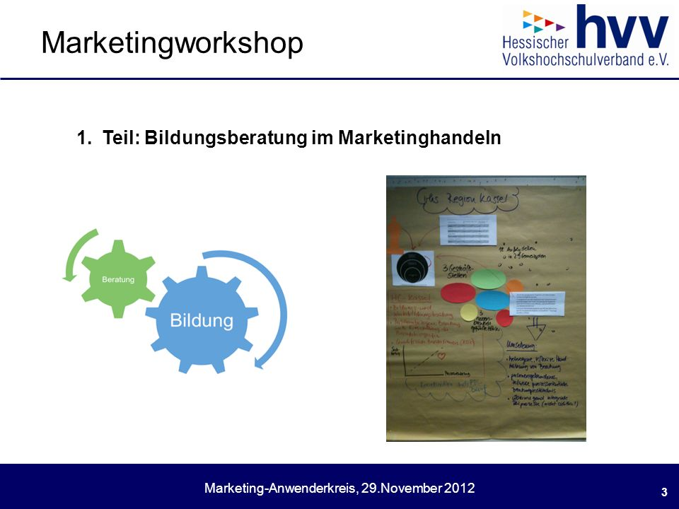 Marketing-Anwenderkreis, 29.November 2012 Marketingworkshop 3 1.Teil: Bildungsberatung im Marketinghandeln