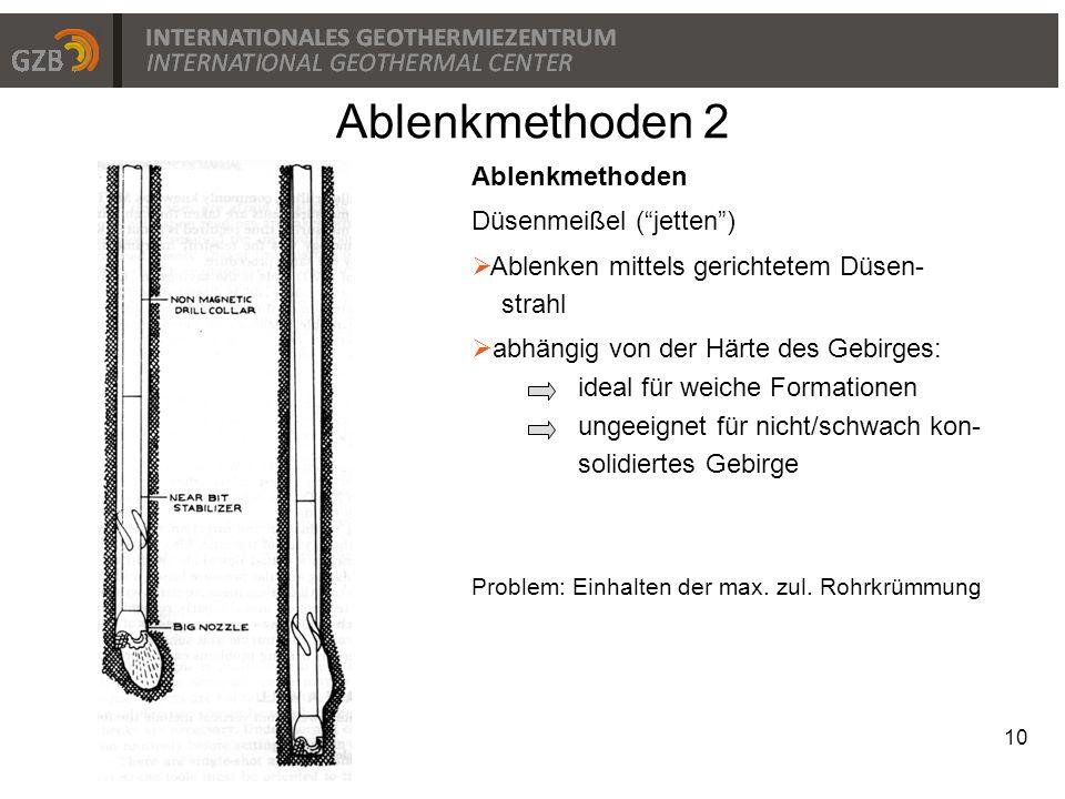 """Ablenkmethoden 2 10 Ablenkmethoden Düsenmeißel (""""jetten"""")  Ablenken mittels gerichtetem Düsen- strahl  abhängig von der Härte des Gebirges: ideal fü"""