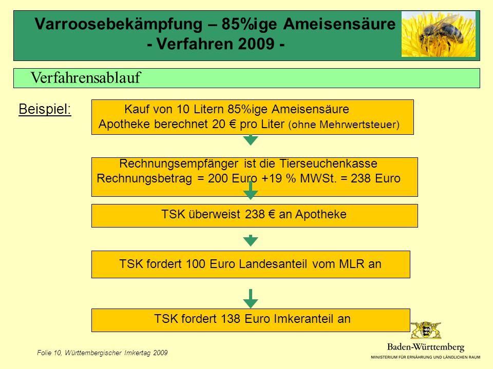 Folie 10, Württembergischer Imkertag 2009 Varroosebekämpfung – 85%ige Ameisensäure - Verfahren 2009 - Verfahrensablauf Beispiel: Rechnungsempfänger ist die Tierseuchenkasse Rechnungsbetrag = 200 Euro +19 % MWSt.