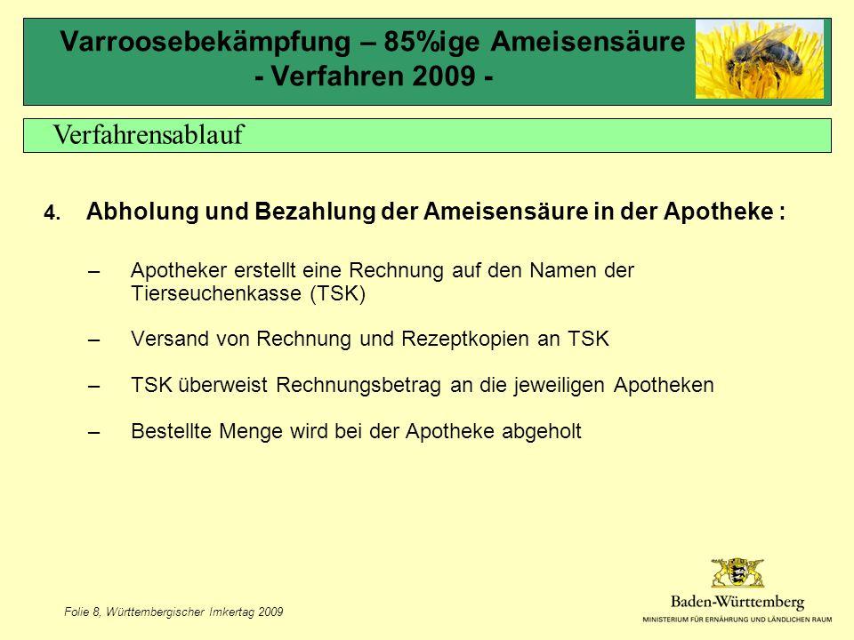Folie 8, Württembergischer Imkertag 2009 Varroosebekämpfung – 85%ige Ameisensäure - Verfahren 2009 - 4.