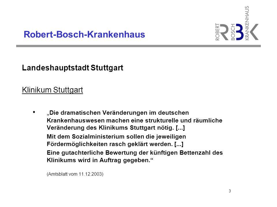 """Robert-Bosch-Krankenhaus Landeshauptstadt Stuttgart Klinikum Stuttgart """" Die dramatischen Veränderungen im deutschen Krankenhauswesen machen eine strukturelle und räumliche Veränderung des Klinikums Stuttgart nötig."""