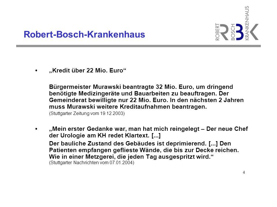"""Robert-Bosch-Krankenhaus """"Kredit über 22 Mio.Euro Bürgermeister Murawski beantragte 32 Mio."""