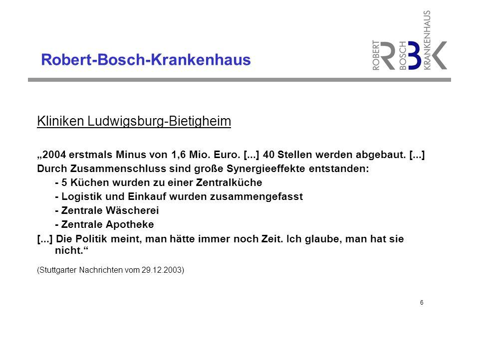 Robert-Bosch-Krankenhaus Bewertungen und Erwartungen aus der Sicht des RBK-Managements Wir müssen unseren eigenen Weg gehen.