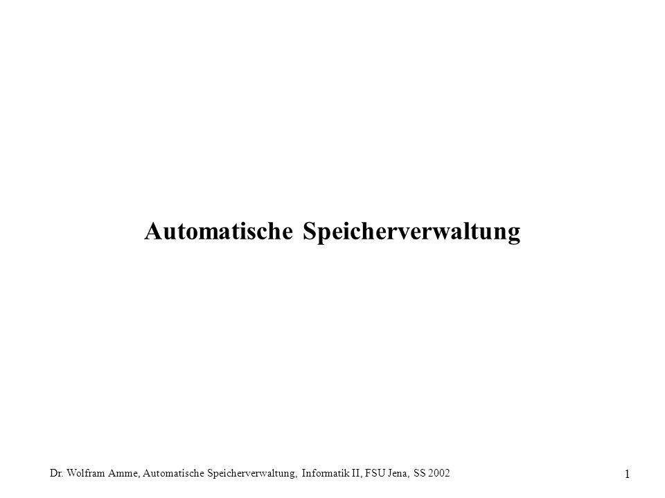 Dr. Wolfram Amme, Automatische Speicherverwaltung, Informatik II, FSU Jena, SS 2002 1 Automatische Speicherverwaltung
