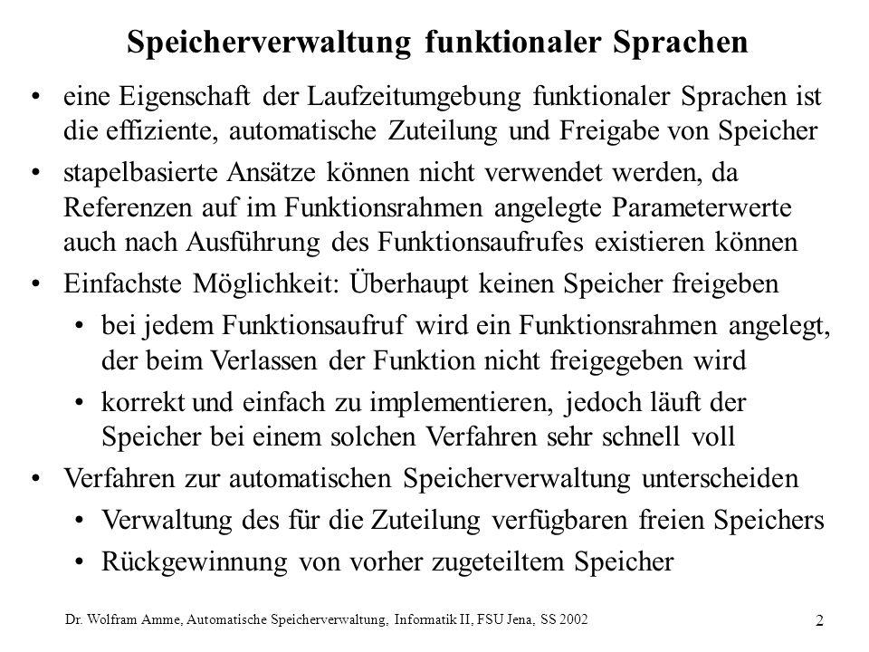 Dr. Wolfram Amme, Automatische Speicherverwaltung, Informatik II, FSU Jena, SS 2002 2 Speicherverwaltung funktionaler Sprachen eine Eigenschaft der La