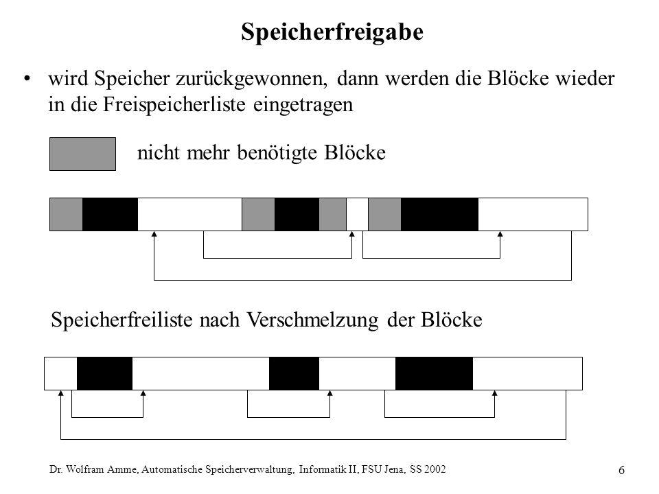 Dr. Wolfram Amme, Automatische Speicherverwaltung, Informatik II, FSU Jena, SS 2002 6 Speicherfreigabe wird Speicher zurückgewonnen, dann werden die B