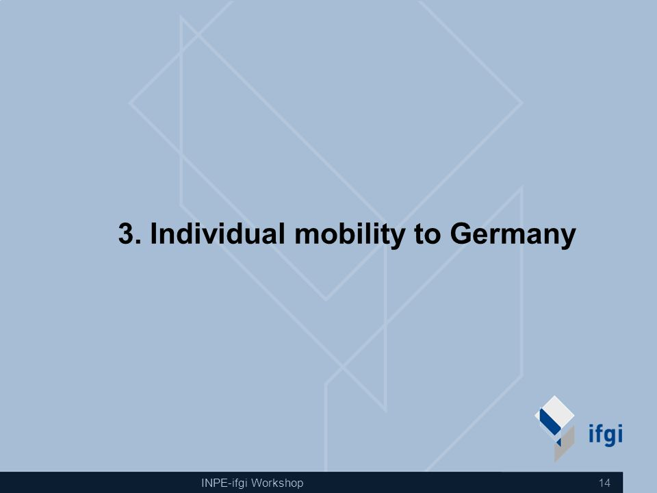 INPE-ifgi Workshop 14 3. Individual mobility to Germany