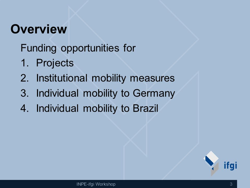 INPE-ifgi Workshop 3 Overview Funding opportunities for 1.Projects 2.Institutional mobility measures 3.Individual mobility to Germany 4.Individual mobility to Brazil