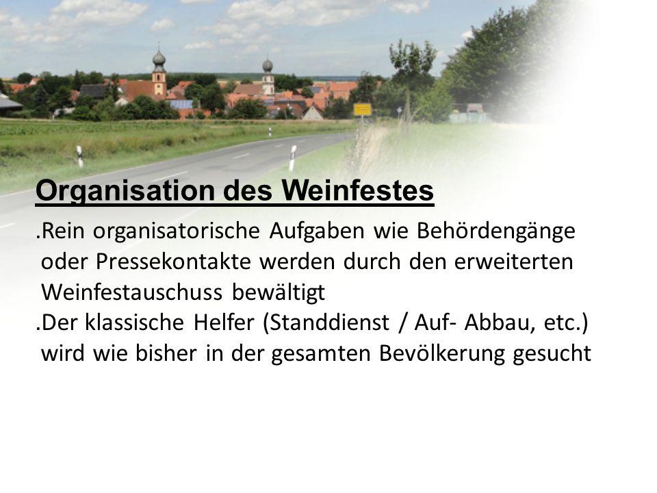 Organisation des Weinfestes.Rein organisatorische Aufgaben wie Behördengänge oder Pressekontakte werden durch den erweiterten Weinfestauschuss bewälti