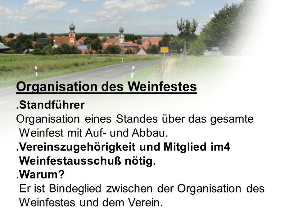 Organisation des Weinfestes.Standführer Organisation eines Standes über das gesamte Weinfest mit Auf- und Abbau..Vereinszugehörigkeit und Mitglied im4