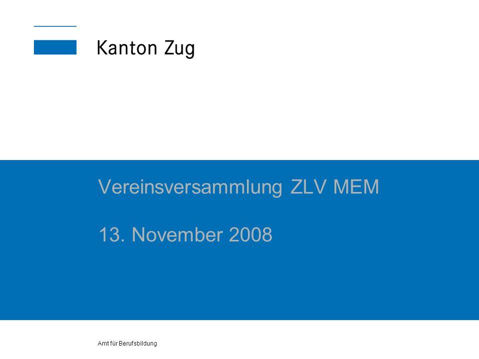 Amt für Berufsbildung Vereinsversammlung ZLV MEM 13. November 2008