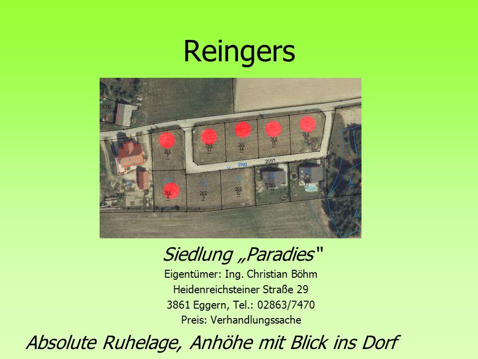 """Reingers Siedlung """"Paradies Eigentümer: Ing."""