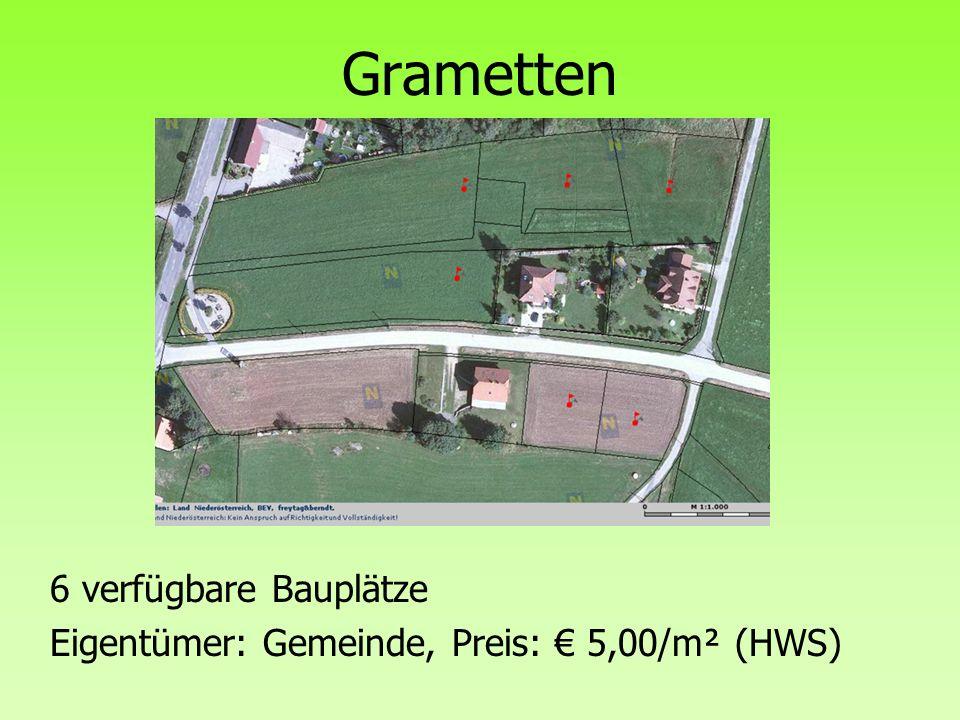 Grametten 6 verfügbare Bauplätze Eigentümer: Gemeinde, Preis: € 5,00/m² (HWS)