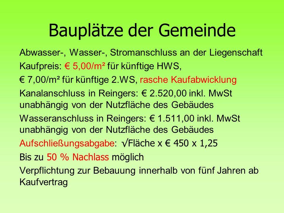 Bauplätze der Gemeinde Abwasser-, Wasser-, Stromanschluss an der Liegenschaft Kaufpreis: € 5,00/m² für künftige HWS, € 7,00/m² für künftige 2.WS, rasche Kaufabwicklung Kanalanschluss in Reingers: € 2.520,00 inkl.