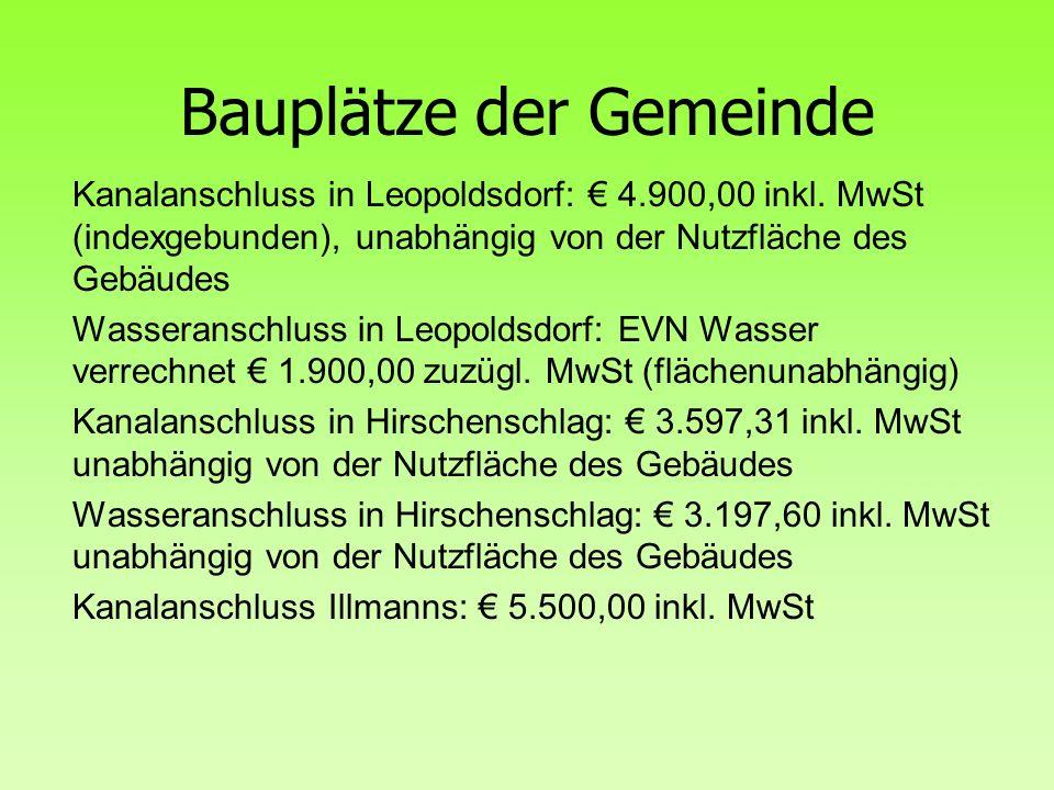 Bauplätze der Gemeinde Kanalanschluss in Leopoldsdorf: € 4.900,00 inkl.