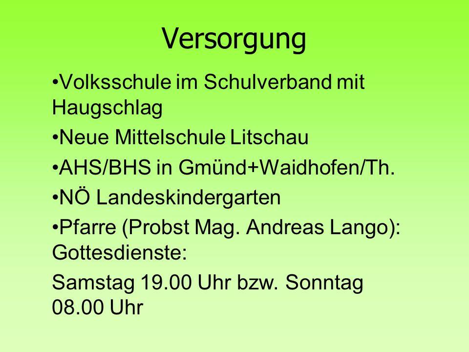 Versorgung Volksschule im Schulverband mit Haugschlag Neue Mittelschule Litschau AHS/BHS in Gmünd+Waidhofen/Th.