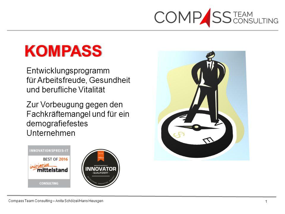 Compass Team Consulting – Anita Schölzel/Hans Heusgen 1 Zur Vorbeugung gegen den Fachkräftemangel und für ein demografiefestes Unternehmen KOMPASS Entwicklungsprogramm für Arbeitsfreude, Gesundheit und berufliche Vitalität