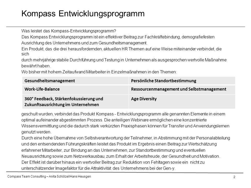 Compass Team Consulting – Anita Schölzel/Hans Heusgen 2 Was leistet das Kompass-Entwicklungsprogramm.