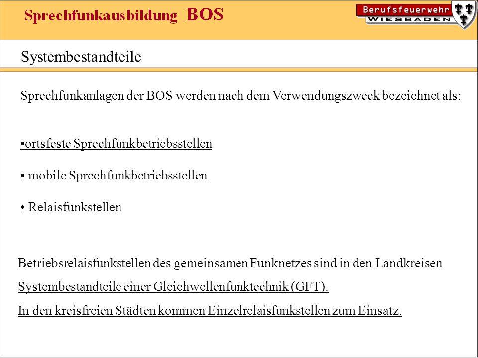 Systembestandteile Sprechfunkanlagen der BOS werden nach dem Verwendungszweck bezeichnet als: ortsfeste Sprechfunkbetriebsstellen mobile Sprechfunkbet
