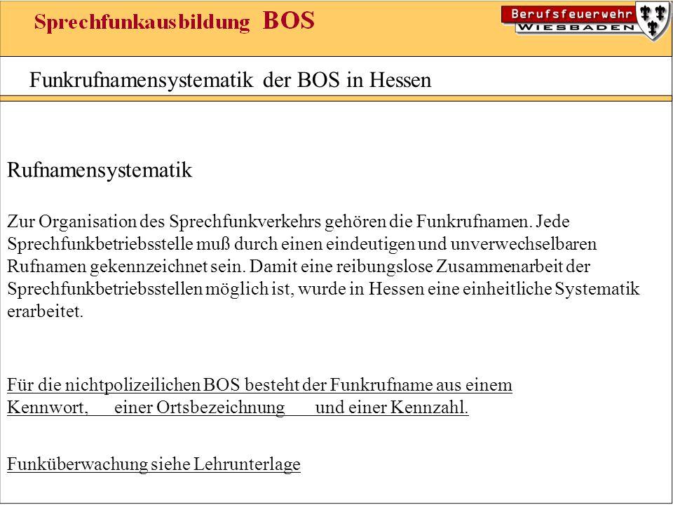 Funkrufnamensystematik der BOS in Hessen Rufnamensystematik Zur Organisation des Sprechfunkverkehrs gehören die Funkrufnamen. Jede Sprechfunkbetriebss