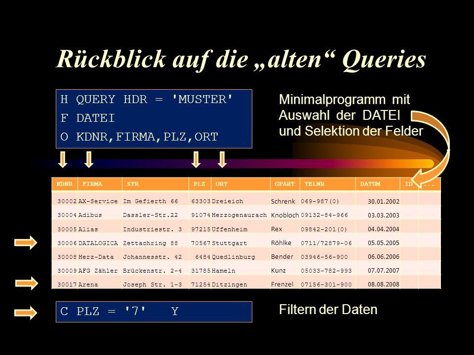 "Ausgabe des ""alten Queries Query Report MUSTER 2.5 PR T222 05.05.09 14.54UHR ------------------------------------------------------------------------------ Demodatei Lattwein Q U E R Y MUSTER PR 05.05.09 14.54UHR ------------------------------------------------------------------------------ KDNR FIRMA PLZ ORT ------------------------------------------------------------------------------ 30006 DATALOGICA 70567 Stuttgart 30017 Arena 71254 Ditzingen ------------------------------------------------------------------------------ PF7=Left PF8=Right PF4=Output Data entry"