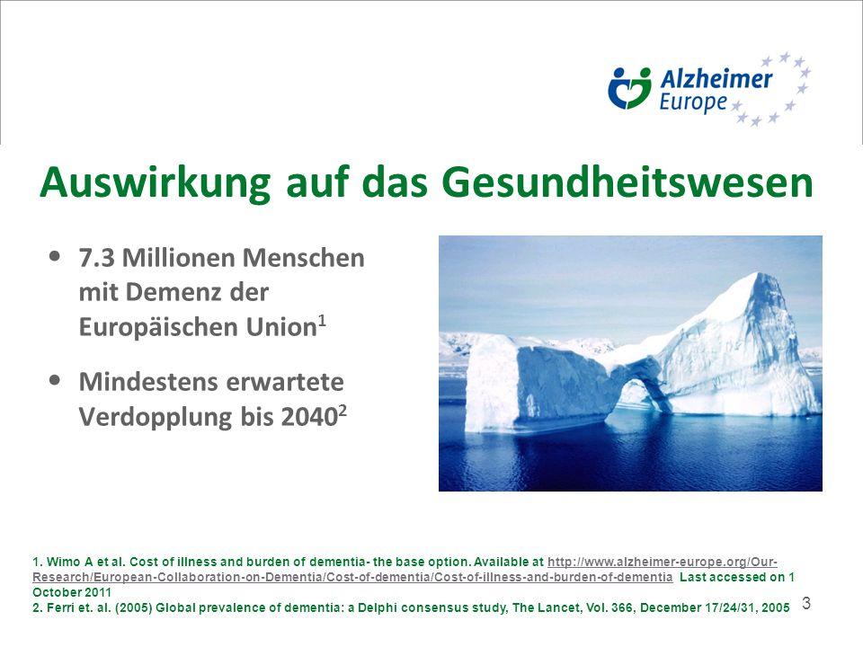 3 Auswirkung auf das Gesundheitswesen 7.3 Millionen Menschen mit Demenz der Europäischen Union 1 Mindestens erwartete Verdopplung bis 2040 2 1.