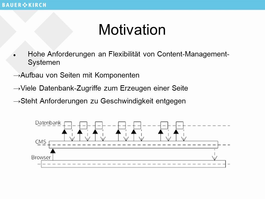 Motivation Hohe Anforderungen an Flexibilität von Content-Management- Systemen →Aufbau von Seiten mit Komponenten →Viele Datenbank-Zugriffe zum Erzeugen einer Seite →Steht Anforderungen zu Geschwindigkeit entgegen