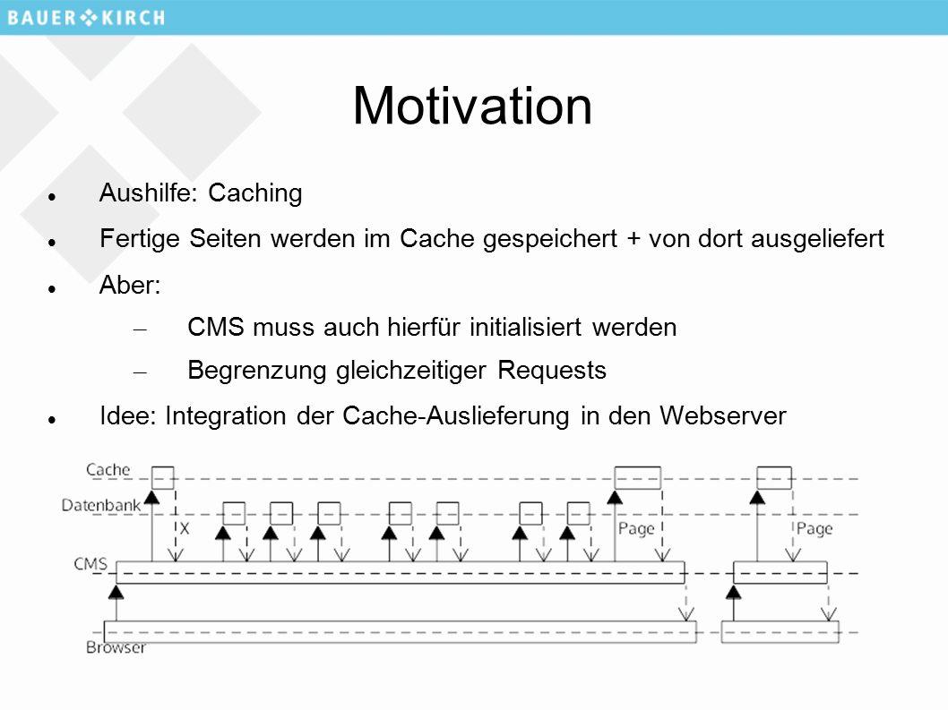 Motivation Aushilfe: Caching Fertige Seiten werden im Cache gespeichert + von dort ausgeliefert Aber: – CMS muss auch hierfür initialisiert werden – Begrenzung gleichzeitiger Requests Idee: Integration der Cache-Auslieferung in den Webserver