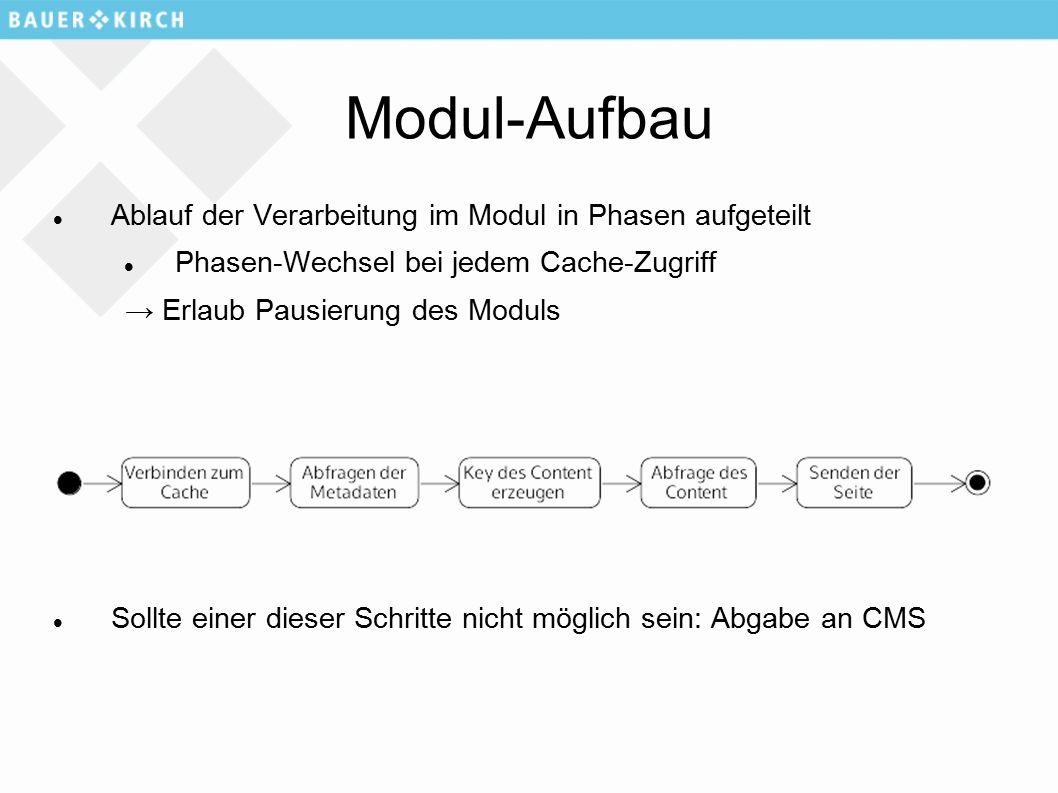 Modul-Aufbau Ablauf der Verarbeitung im Modul in Phasen aufgeteilt Phasen-Wechsel bei jedem Cache-Zugriff → Erlaub Pausierung des Moduls Sollte einer dieser Schritte nicht möglich sein: Abgabe an CMS