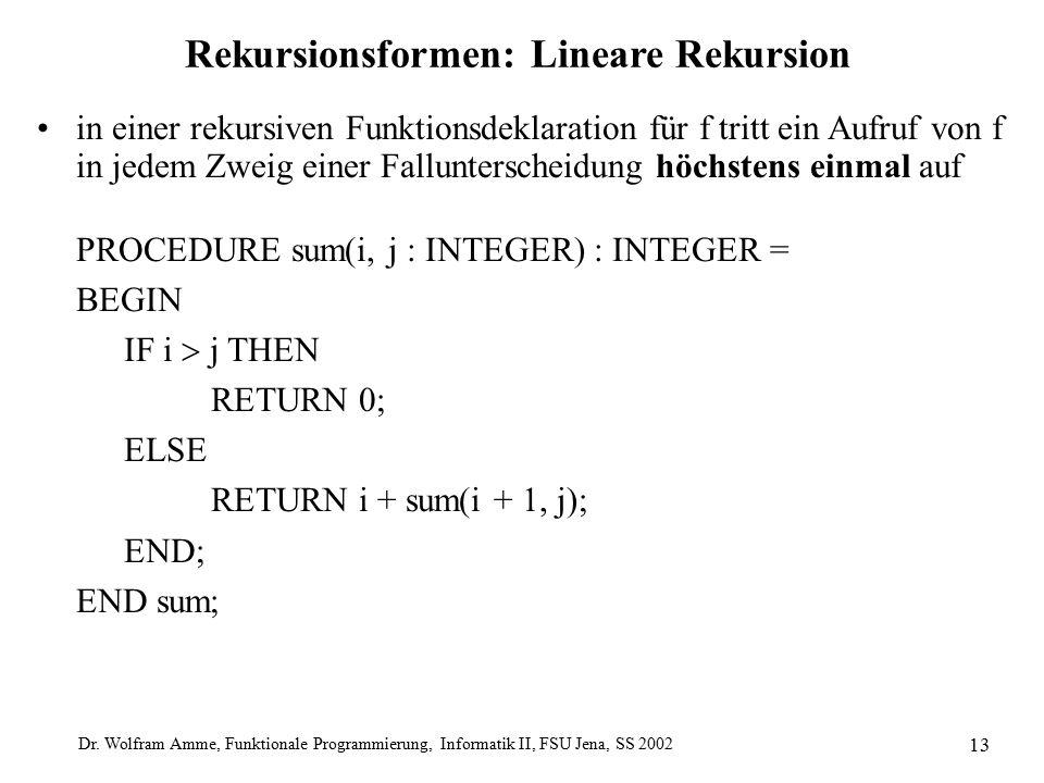 Dr. Wolfram Amme, Funktionale Programmierung, Informatik II, FSU Jena, SS 2002 13 Rekursionsformen: Lineare Rekursion in einer rekursiven Funktionsdek
