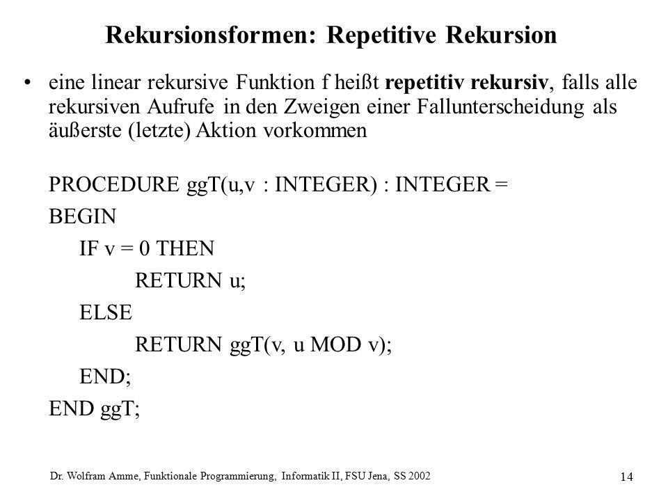 Dr. Wolfram Amme, Funktionale Programmierung, Informatik II, FSU Jena, SS 2002 14 Rekursionsformen: Repetitive Rekursion eine linear rekursive Funktio