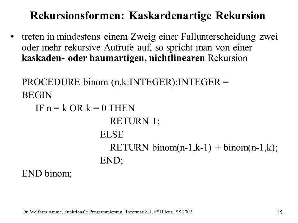 Dr. Wolfram Amme, Funktionale Programmierung, Informatik II, FSU Jena, SS 2002 15 Rekursionsformen: Kaskardenartige Rekursion treten in mindestens ein