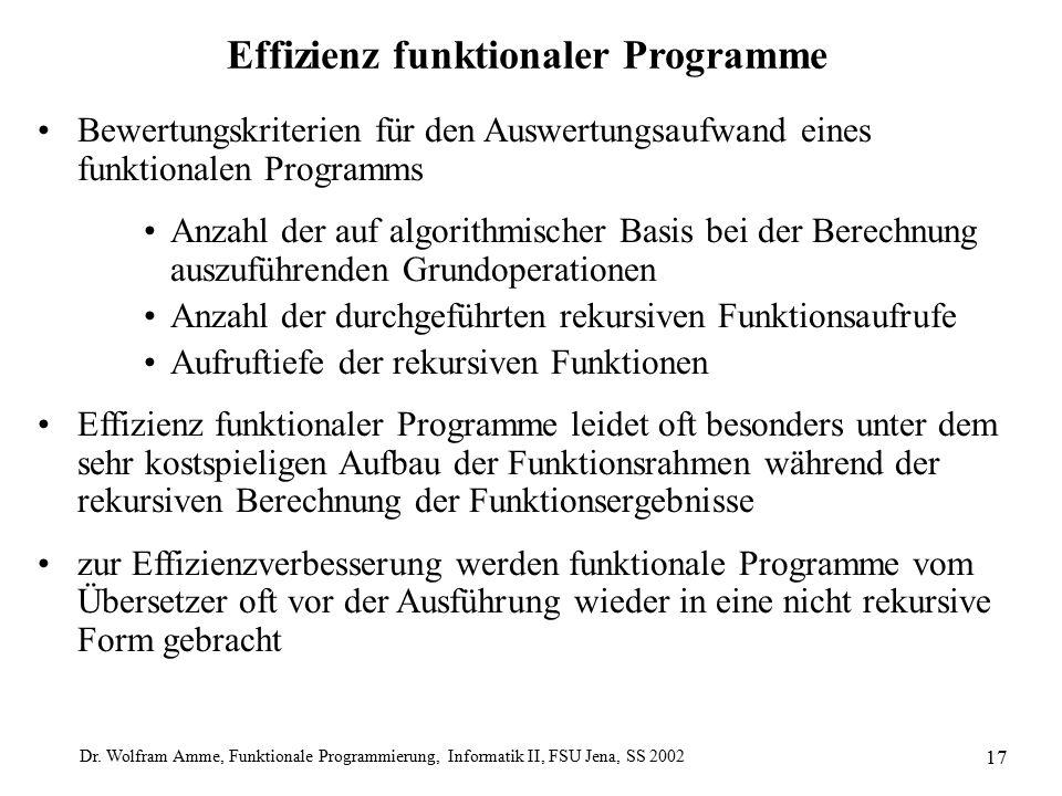 Dr. Wolfram Amme, Funktionale Programmierung, Informatik II, FSU Jena, SS 2002 17 Effizienz funktionaler Programme Bewertungskriterien für den Auswert