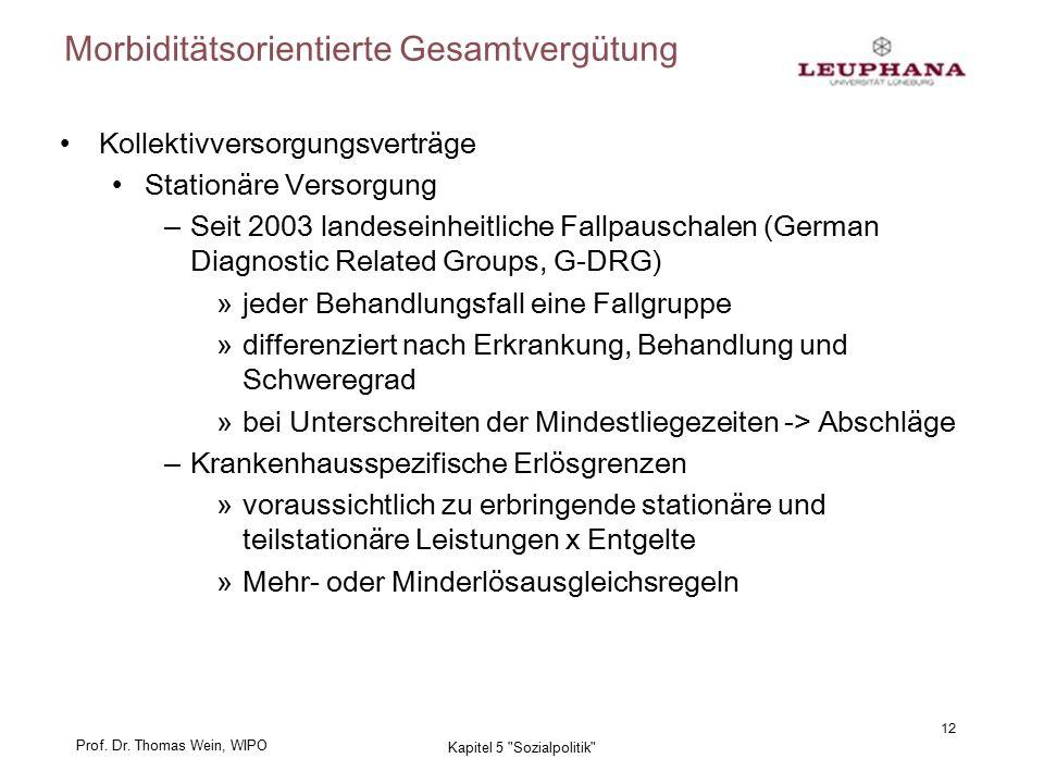Prof. Dr. Thomas Wein, WIPO Morbiditätsorientierte Gesamtvergütung 12 Kapitel 5