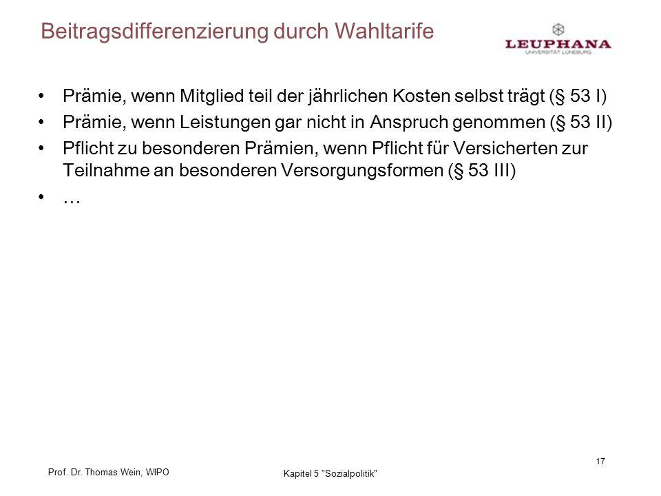 Prof. Dr. Thomas Wein, WIPO Beitragsdifferenzierung durch Wahltarife Prämie, wenn Mitglied teil der jährlichen Kosten selbst trägt (§ 53 I) Prämie, we
