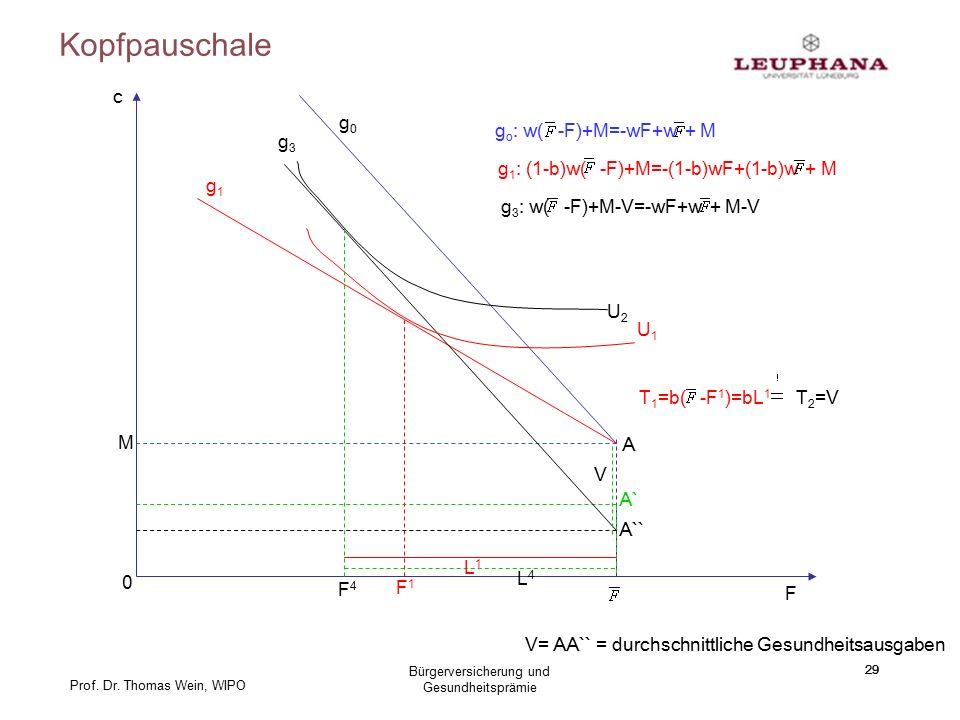 Prof. Dr. Thomas Wein, WIPO Kopfpauschale 29 c F A M 0 g0g0 g o : w( -F)+M=-wF+w + M g1g1 g 1 : (1-b)w( -F)+M=-(1-b)wF+(1-b)w + M A` g3g3 g 3 : w( -F)