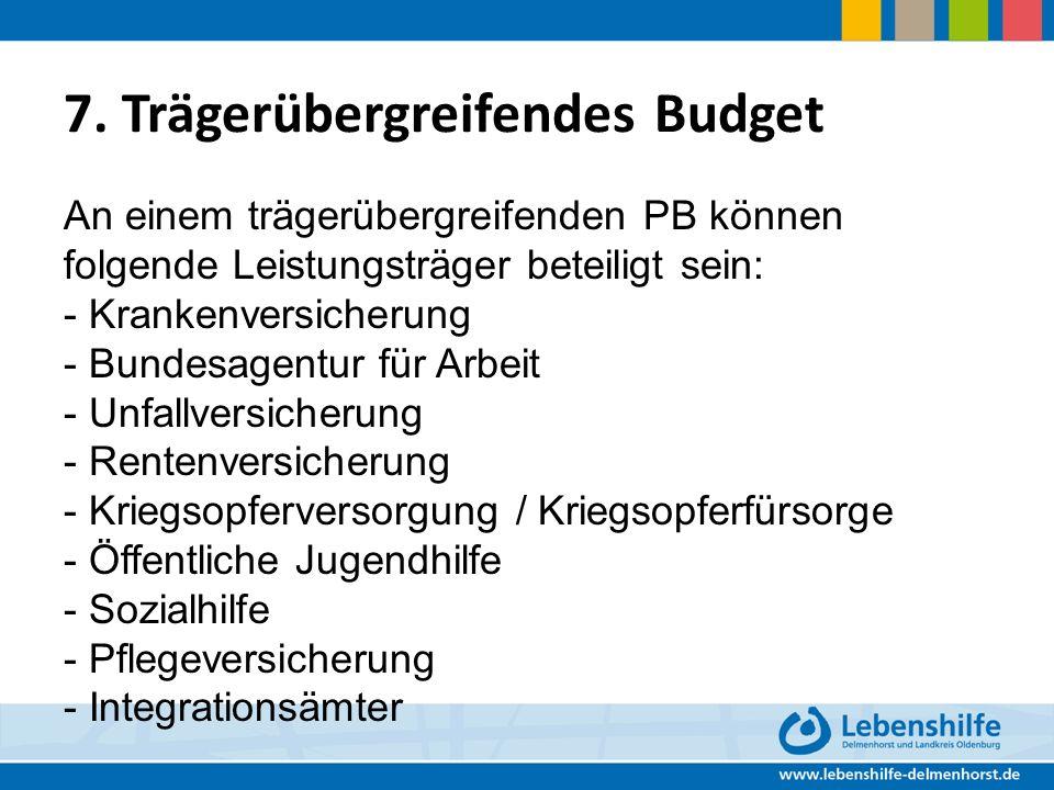 7. Trägerübergreifendes Budget An einem trägerübergreifenden PB können folgende Leistungsträger beteiligt sein: - Krankenversicherung - Bundesagentur