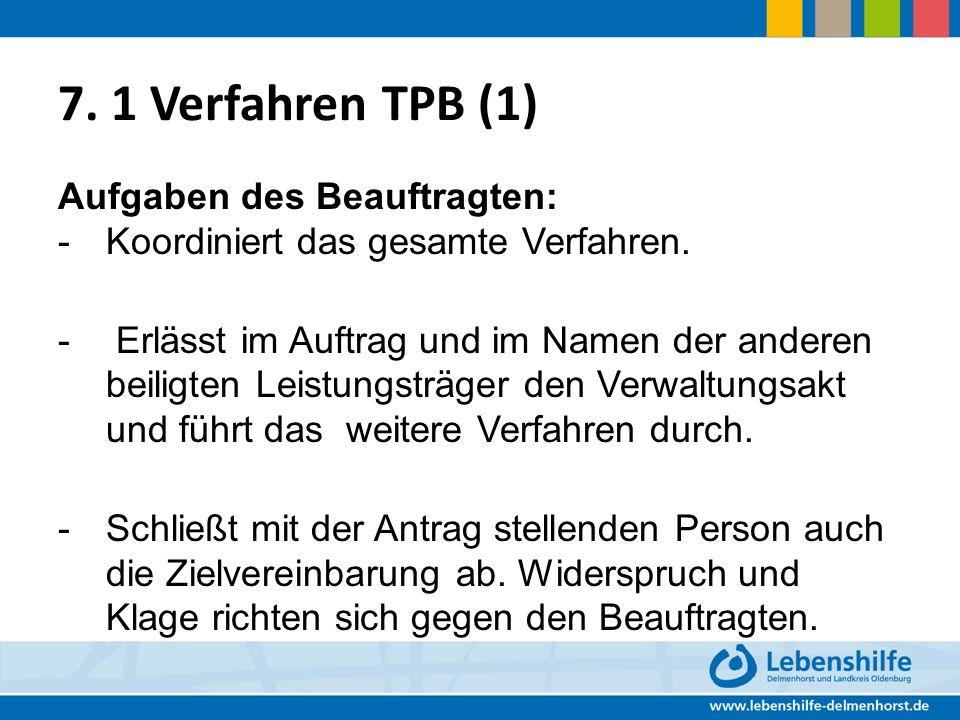 7.1 Verfahren TPB (1) Aufgaben des Beauftragten: - Koordiniert das gesamte Verfahren.