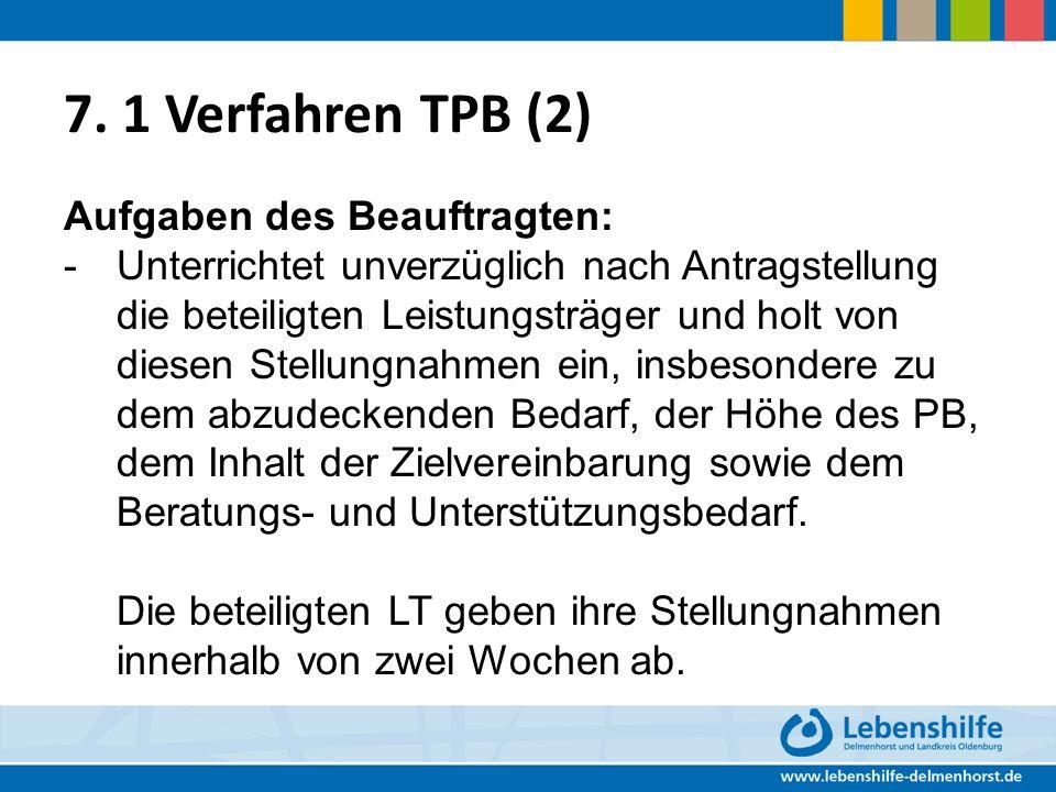 7. 1 Verfahren TPB (2) Aufgaben des Beauftragten: - Unterrichtet unverzüglich nach Antragstellung die beteiligten Leistungsträger und holt von diesen