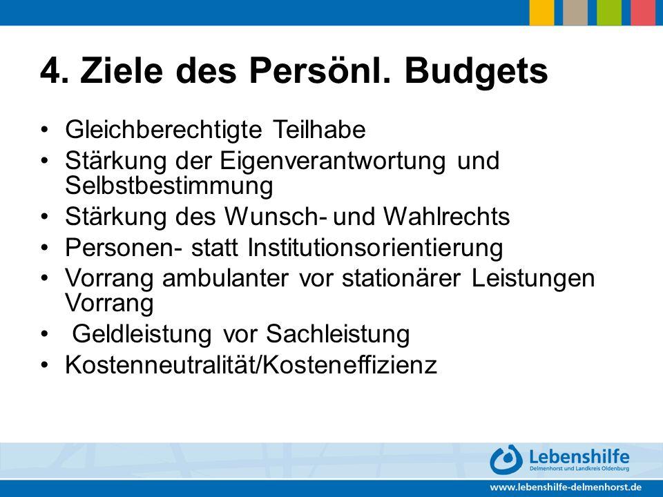 4. Ziele des Persönl. Budgets Gleichberechtigte Teilhabe Stärkung der Eigenverantwortung und Selbstbestimmung Stärkung des Wunsch- und Wahlrechts Pers