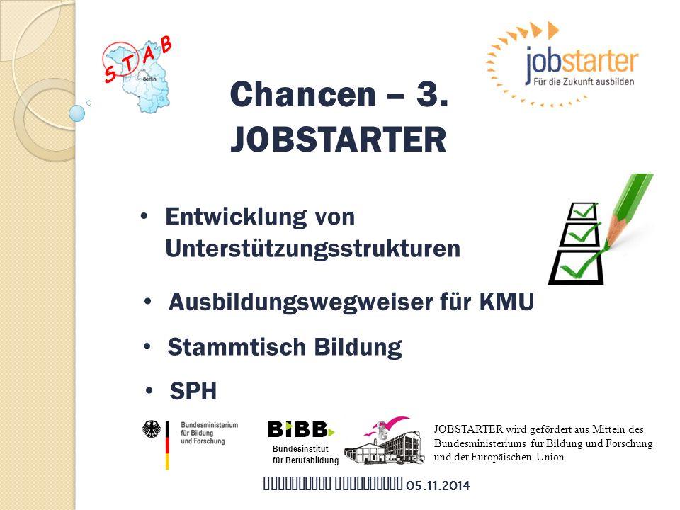 Bundesinstitut für Berufsbildung JOBSTARTER wird gefördert aus Mitteln des Bundesministeriums für Bildung und Forschung und der Europäischen Union.