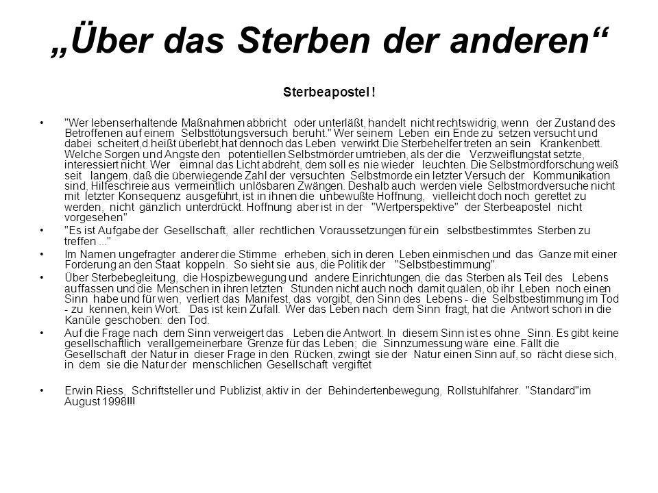 """""""Über das Sterben der anderen Sterbeapostel ."""