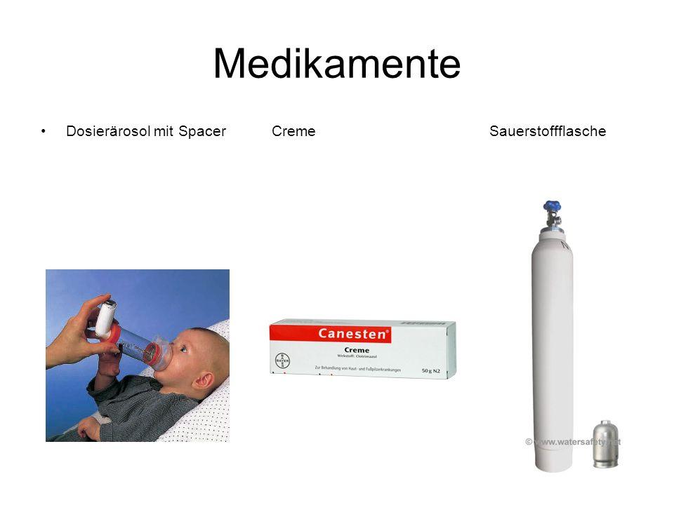 Medikamente Dosierärosol mit Spacer Creme Sauerstoffflasche